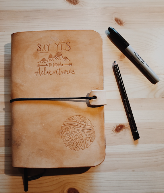 Lederen Notebook cover ✂ donderdag 13/8 namiddag